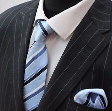 Tie Neck tie with Handkerchief Light Blue Black & white Stripe