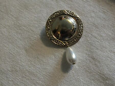 Collectible Gold Tone Textured Faux Pearl Dangle Button Cover Clip NICE