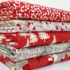 MODA Winterberry Christmas fat quarter bundle grey / red 100%  cotton fabric