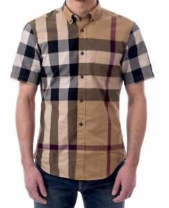 Burberry brit mens fred camel short sleeve button down check shirt s,m,l,xl
