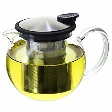 FORLIFE Bola Glass Teapot with Basket Infuser, 25oz./750ml., Black Graphite