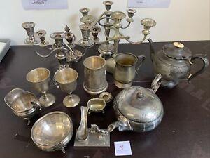 Vintage Silver Plate EPNS Items 7kg Job Lot Candlesticks Tea Set #3728