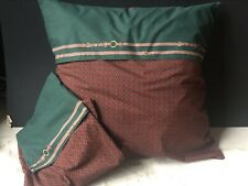 *RARE RALPH Lauren WILKES FOULARD Equestrian EURO Pillow SHAMS Vintage PAIR
