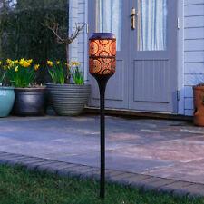 Solar Power Outdoor Metal Light Up Flame Stake Lantern | Garden Decor