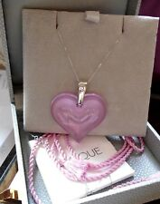 LALIQUE BEAUTIFUL LARGE HEART PRETTY  PINK  & 9CT GOLD WHITE GOLD CHAIN LUXURY
