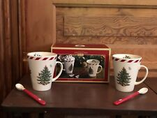 2017 Spode Christmas Tree Set of 2 Peppermint Conical Mug With Original Box