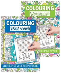 2 x Colouring Word Search Brain Puzzle/Trivia/Activity Games A4 Books