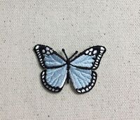 SMALL Monarch Butterfly - Light Blue/Black - Iron on Applique/Embroidered Patch