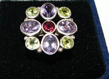 ARGENTO 925 : Anello Quadrato gemme Ametista Peridoto Granato naturali mis. 15