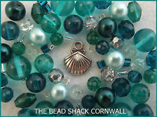 Glass Bracelet Making Kit / Bead Mix - Teal - Rock Pool