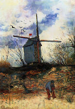 Oil painting Vincent Van Gogh - Landscape and windmills hand painted on canvas
