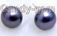 10-11mm Natural Black Freshwater Pearl Earring for Women & Silver Stud Earring