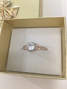 White Sapphire on Rose Gold over Silver Ring Size 6.5 US. Stocktake Markdown.