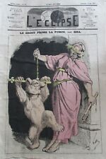 LE DROIT PRIME CARICATURE OURS JUSTICE JOURNAL SATIRIQUE L'ECLIPSE  239 de 1873