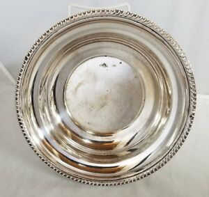 "Vintage Art Silver Co Silverplate Serving Bowl 9""x2.25"" Round Silver Plated Rib"