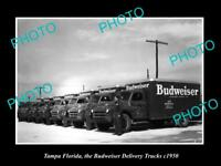 OLD LARGE HISTORIC PHOTO OF TAMPA FLORIDA, BUDWEISER BEER DELIVERY TRUCKS c1950