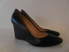 $425 New Sz.8.5/39  AQUATALIA  Leather Wedge Heel Black Shoes ( ITALY )