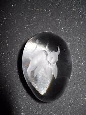 SOLID GLASS EGG WITH BULL ETCHED ON THE TOP UNSIGNED