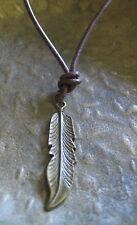 Feder Halskette Leder Herren neu Surf Lederkette braun Surferkette Herrenkette