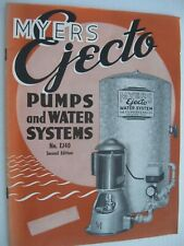 Myers Ejecto Pumps and Water Systems Catalog - Vintage 1940 Booklet #EJ40