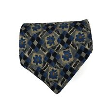 Canali Tie Made In Italy 100% Silk Beige Blue Classic Wide Floral Flower Necktie