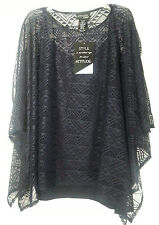ATTITUDES BY RENEE 2 PIECE TOP SET XL 18 20 EXTRA LARGE BLOUSE NAVY BLUE NWT NEW