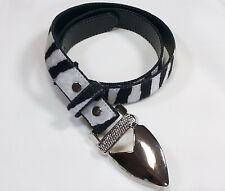 Womans Black White Belt Textured Zebra Striped 1