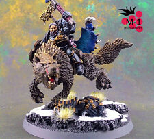 Warhammer 40k Space Wolves Wolf Lord on Thunderwolf M-1 pro-painted