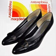California Magdesians 10SS Black Leather Wedge Heel Slip On Vtg 80s USA