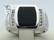 New Solid 14K White Gold Rectangle Black Onyx Ring with Round Diamonds Size 10.5