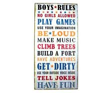 """Wall Art Decoration """"Boys Rules"""" Kids Bedroom Sign"""