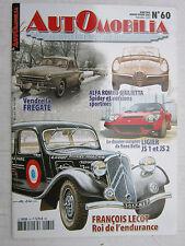 AUTOMOBILIA  N° 60 /ALFA ROMEO GUILIETTA/LIGIER JS1 et JS2/FRANCOIS LECOT