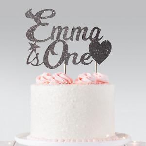 Personalised Birthday Custom Cake Topper Glitter Any Name & Age 1, 2, 10,18,21st
