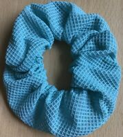 A Turquoise Green Waffle Fabric Scrunchie Ponytail Band / Bobble