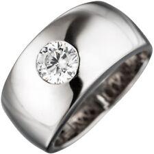 Breiter Ring Damenring mit Zirkonia weiß, glänzend, 925 Silber Silberring