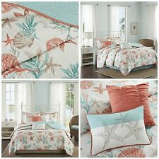 King Size Coral Blue Coastal Starfish Quilted Coverlet 6 Piece Bedding Set