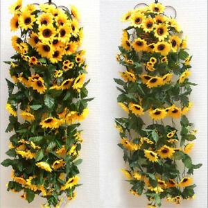 2.6M 12 Head Artificial Fake Silk Sunflower Ring Vine Garland Wedding Home Decor