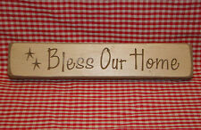 """Rustic Primitive Country Wood sign engraved words """"BLESS OUR HOME"""" home decor"""
