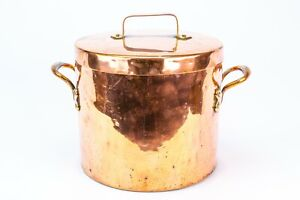 19C Polished Copper Stockpot Cooking Pot w Pan Lid Antique Victorian English