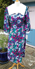 Vintage Floral tea Dress White Jade Green Purple 1940's style Retro Goodwood