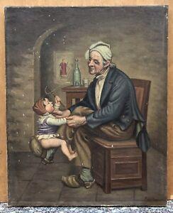 Tableau Ancien Huile Scène Portrait Vieil Homme Enfant Jeu Intérieur XIXe