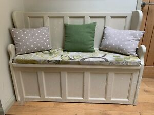 Church pew / Bench / Heavy Duty Shoe Storage Seat Box + Seat Pad Upcycle Project