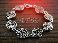 Viking Segmented Knotwork Disc Bracelet -- Norse/Norway/Medieval/Silver/Celtic