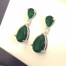 P Designer Large Green Emerald Pear Drop Silver Earrings (white gold GF) BOXED
