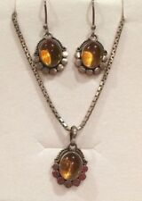 Necklace Sterling Silver Amber Vintage & Antique Jewellery