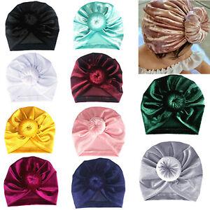 Newborn Baby Bowknot Turban Beanie Caps Toddler Kids Velvet Hats Soft Headwraps