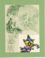 ANTIQUE VINTAGE ARTISTIC NUDE WOMAN ALLEGORICAL LION GREEN PANSIES COLLAGE PRINT