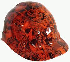 Hard Hat Hi-Vis Orange Filigree Skulls w/ Free BRB Customs T-Shirt