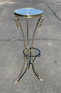 """LaBarge Brass Glass Swan Table Claw Feet Hollywood Regency 39"""" Tall EXC"""
