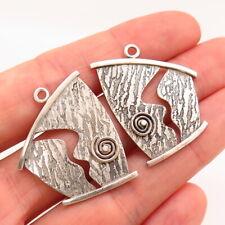 Modernist Design Jacket Earrings 925 Sterling Silver Vintage